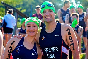 Wearing the red, white and blue of Team USA made Kim Cross and Eddie Freyer feel invincible.