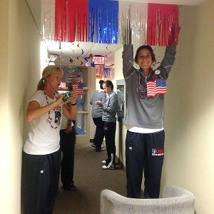 The U.S. women's team got patriotic in the hallways where they're staying at Durham University in Oshawa, Ontario.