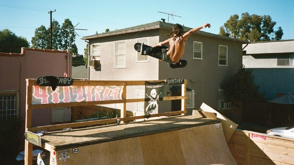 David Gonzalez chicken tweaks a frontside air on a backyard mini.