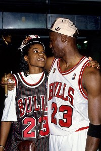 Sheryl Swoopes and Michael Jordan pose in 1996.