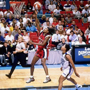 Sheryl Swoopes shoots a layup for the Houston Comets in 1999. The team won its third of four consecutive titles later that season.
