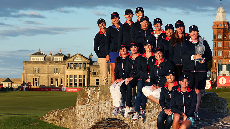 The U.S. Solheim Cup team, posing at St. Andrews in Scotland, is glad the competition will take place in the U.S., where the Europeans have never won.