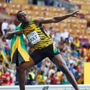 Usain Bolt celebrates winning gold in the men's 200m at the World Athletics Championships in Moscow.