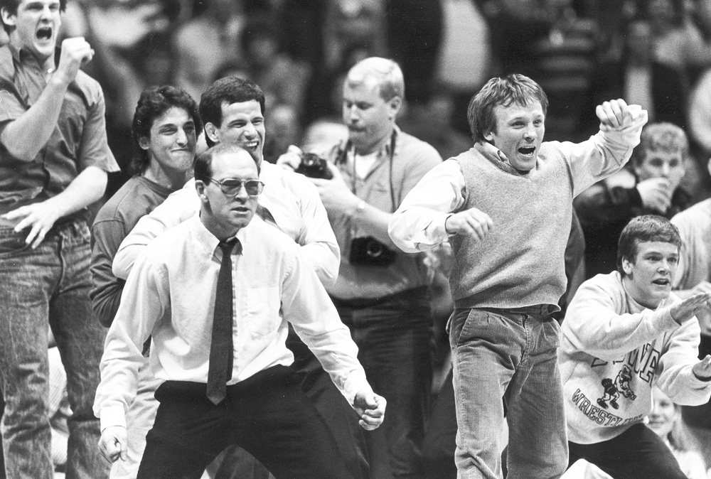Dan Gable coaching Iowa vs. Iowa State