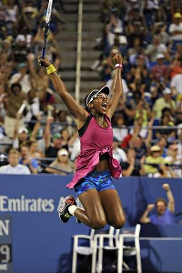 Victoria Duval celebrates with a leap after upsetting No. 11 seed Samantha Stosur.