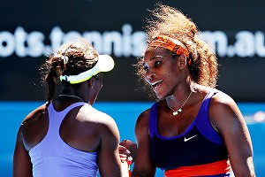 Sloane Stephens is congratulated after upsetting Serena Williams in the Australian Open quarterfinals in January.