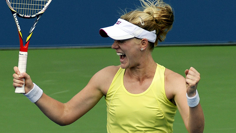Pittsburgh native Alison Riske is understandably fired up after routing ailing No. 7 seed Petra Kvitova in straight sets Saturday.