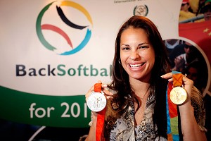 Softball gold medalist Jessica Mendoza was among the athletes who took part in a presentation to the International Olympic Committee in a bid to get softball back in the Olympics.