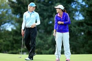Suzann Pettersen had some light moments with Lydia Ko but had to fight to the wire to beat the player half her age.