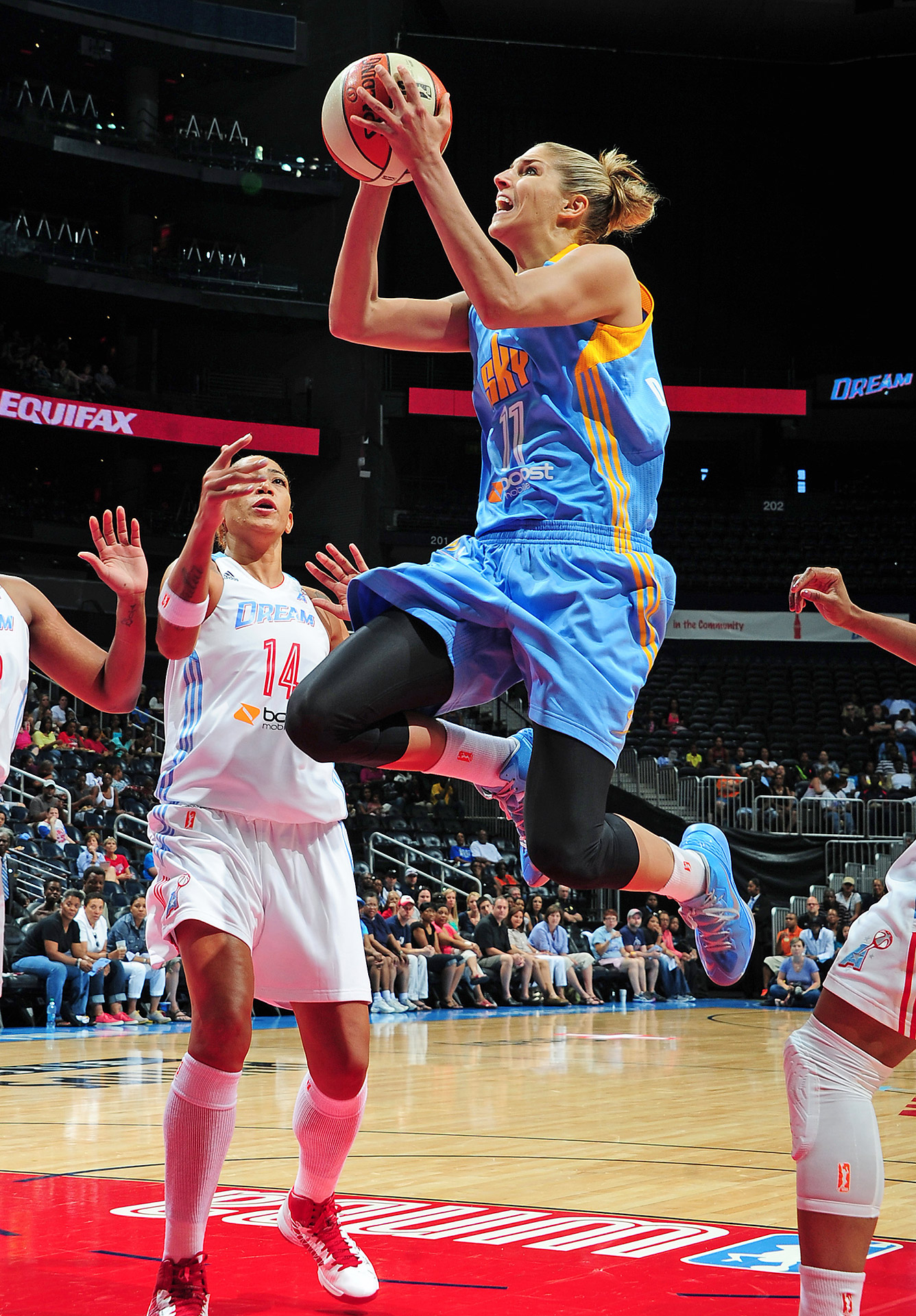 Elena Delle Donne #11 of the Chicago Sky puts up a shot against the Atlanta Dream at Philips Arena on June 16, 2013 in Atlanta, Georgia.