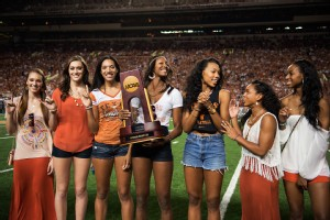 The Texas volleyball team received a warm welcome from nearly 100,000 fans at the Longhorns' football game against Kansas State.