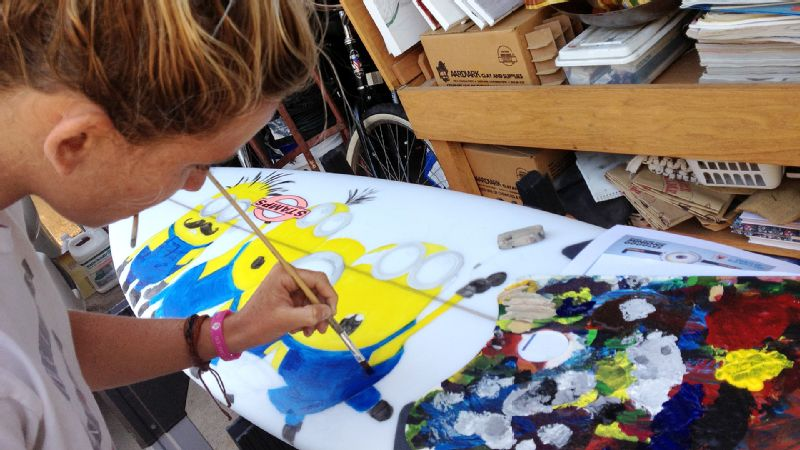 Courtney Conlogue, who spends two or three hours painting her surfboards, gravitates toward subjects that make her laugh.