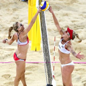 Kerri Walsh Jennings, left, and her previous partner, Misty May-Treanor, defeated April Ross, right, and Jen Kessy to win gold at the London Olympics.
