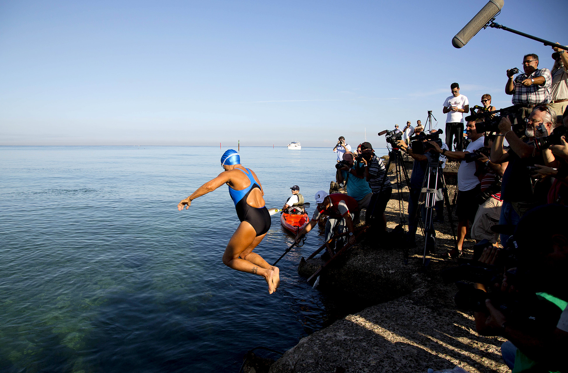 A 64-year-old Diana Nyad jumped into Cuban waters on Aug. 31, 2013, on her fifth attempt to become the first person to swim from Havana to the Florida Keys without a shark cage.