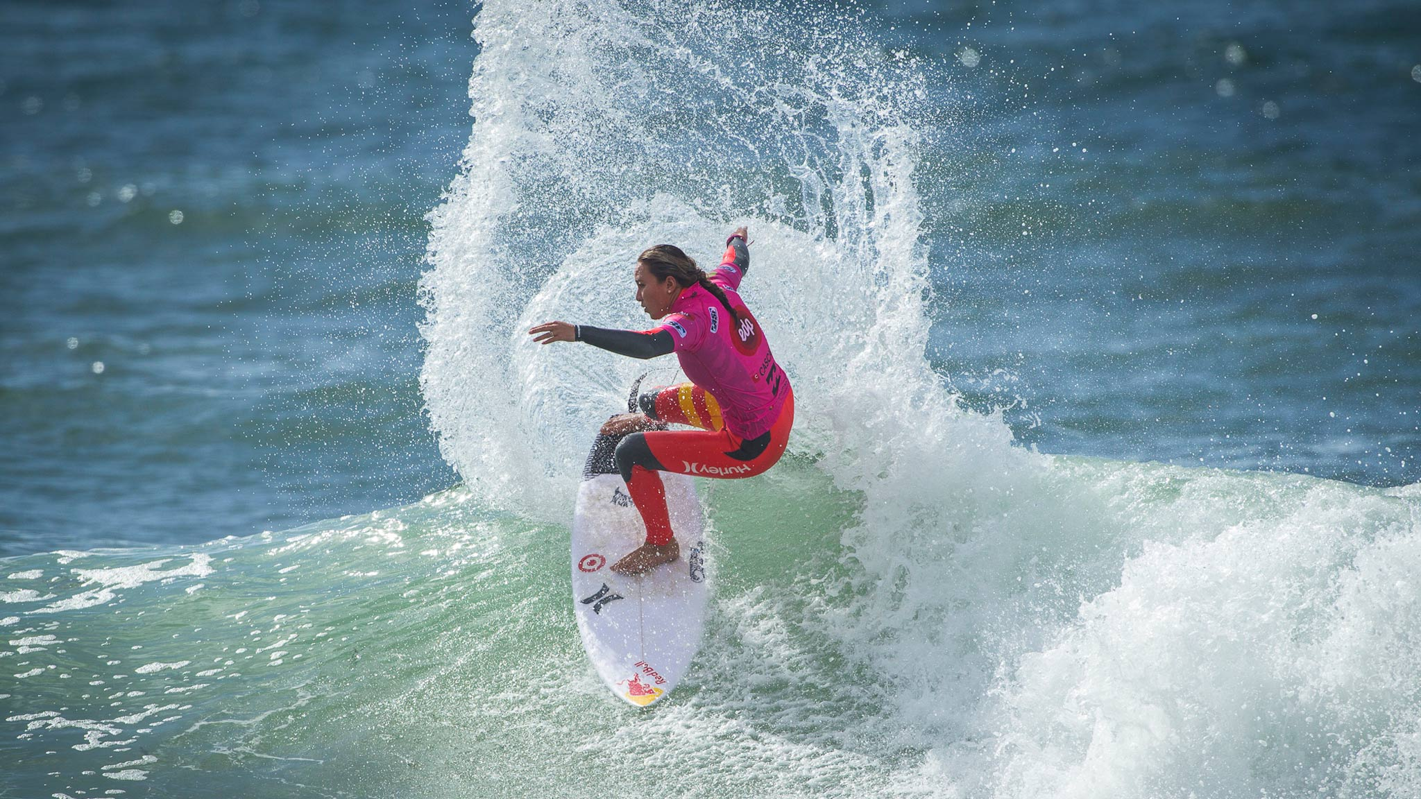 Carissa Moore and Tyler Wright are battling it out for the world title at the  Billabong Cascais Girls Pro in Portugal.