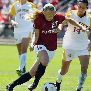Taylor Uhl, left, the first transfer in coach Paul Ratcliffe's 11 seasons at Stanford, has scored 10 goals in her first 11 games with the Cardinal.