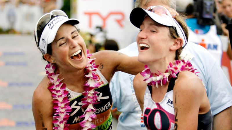 Caitlin Snow, right, finished ninth at the Ironman world championships in 2011 and is looking to leave everything on the course again this weekend in Hawaii. At left is Virginia Berasategui of Spain.