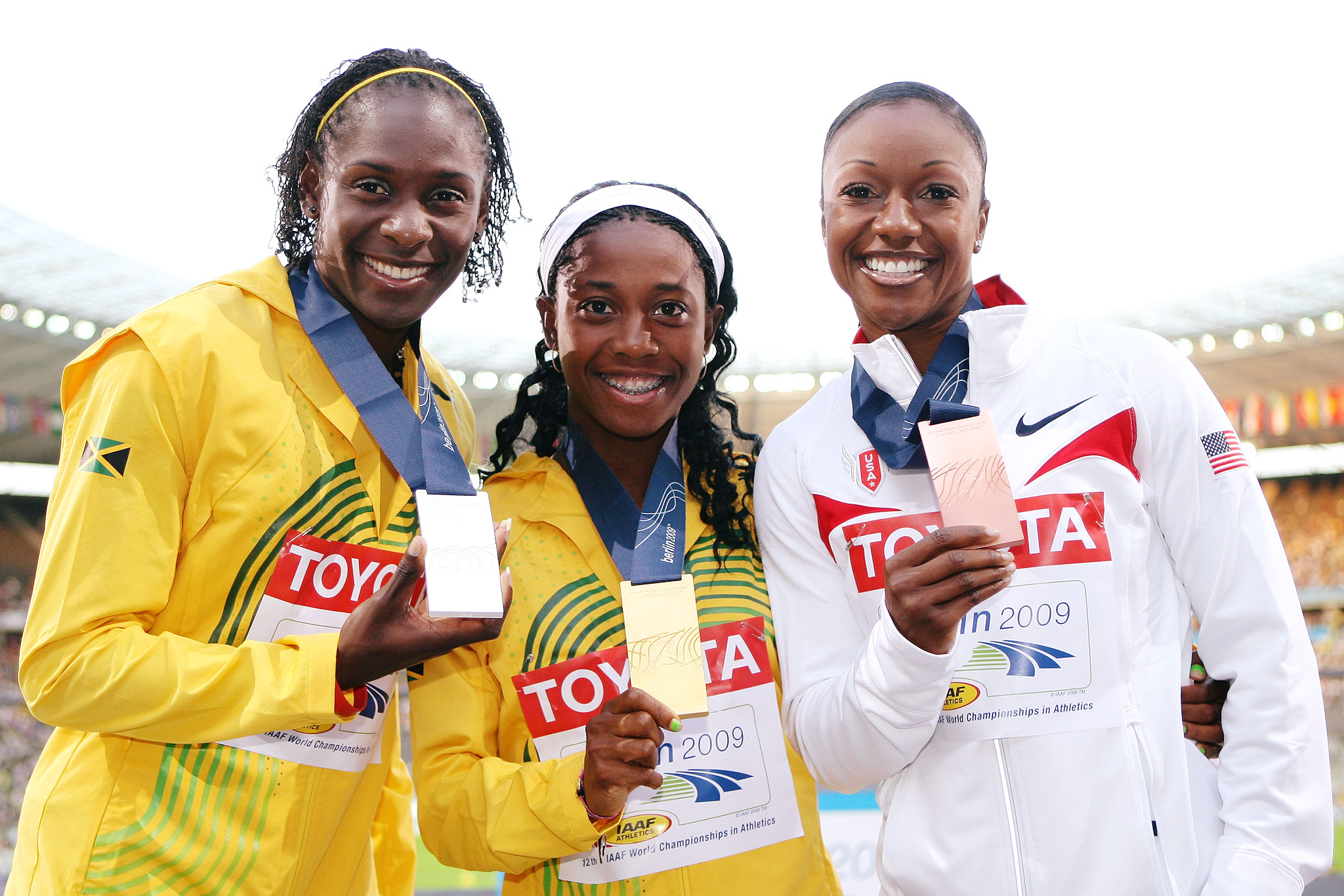 Carmelita Jeter, right, once again took bronze in the 100 meters at the 2009 world championships, finishing in 10.9 seconds, behind gold medalist Shelly-Ann Fraser (middle) and silver medalist Kerron Stewart.