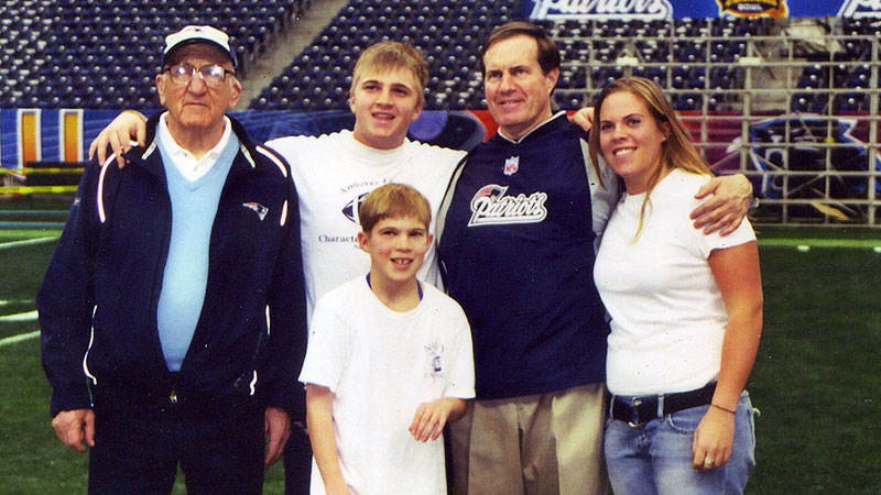 Amanda Belichick remembers her dad, Bill, telling stories about working with her grandfather on film when he was little. Steve Belichick was an assistant football coach at Navy. They attended the 2004 Super Bowl together.