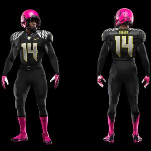 Oregon will wear pink cleats, socks, gloves and helmets Saturday against Washington State to support the fight against breast cancer.