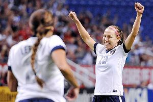 U.S. midfielder Lauren Holiday celebrates after scoring the match's first goal.