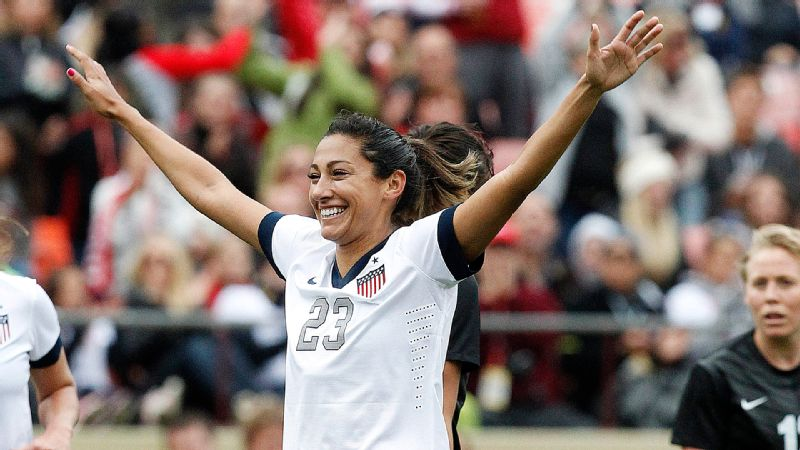 Christen Press of the U.S. celebrates her first-half goal in Sunday's 4-1 victory against New Zealand.