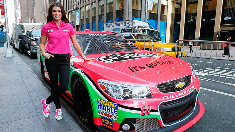 Danica Patricks green No. 10 Chevrolet went pink for the month of October as part of GoDaddy and Chevrolet initiatives for National Breast Cancer Awareness Month.