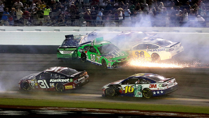 Running in the top 10 for much of the race, Danica Patrick was involved in a last-lap crash and finished 14th in the Coke Zero 400, her fourth-best result of the year.