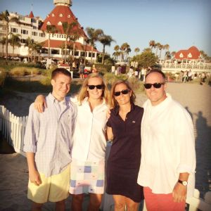 The Ekmark family poses outside the famous Hotel Del Coronado during a recent family vacation to San Diego.