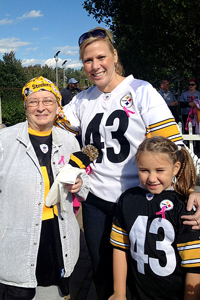 Three generations of Steelers fans: Mom Lonnie Isenberg is 38; Grandma Judy is 68, and daughter Isabella is 6; Judy attended her first game in person earlier this season.