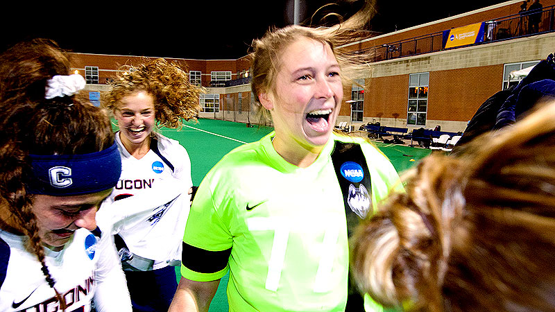 Goalkeeper Sarah Mansfield had five saves in UConn's championship game shutout of Duke.
