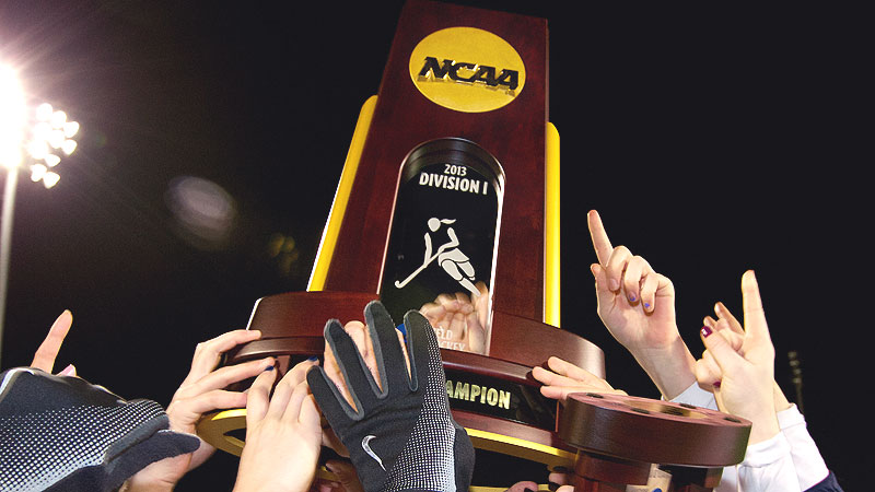UConn's players hoisted the Division I championship trophy after shutting out Duke in the title game.