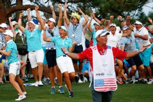 A stunning Saturday afternoon sweep helped propel the Europeans to their first Solheim Cup victory on U.S. soil.