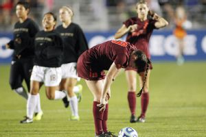 Virginia Tech's Jordan Coburn reacts after the Hokies lost to Florida State in the Women's College Cup semifinals.