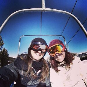 Kelly Clark (with Tricia Byrnes, right), on her way to watch the men's events at Dew Tour.