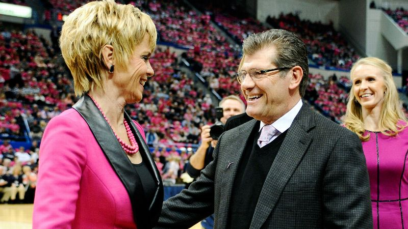 Geno Auriemma has an 856-133 record in his 29th season at UConn, and Kim Mulkey is 386-82 in her 14th season at Baylor.