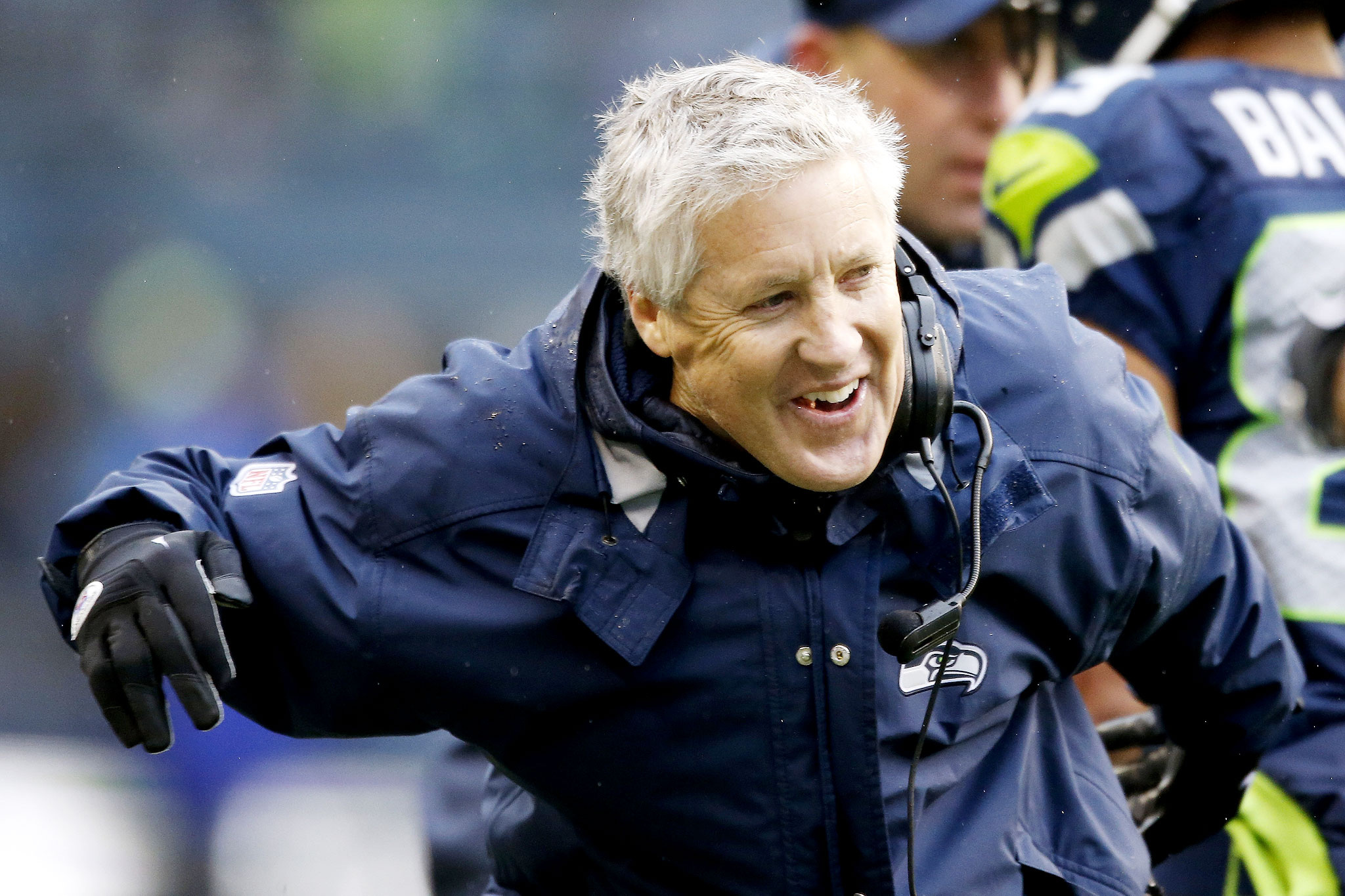 SEATTLE, WA - JANUARY 11:  Head coach Pete Carroll of the Seattle Seahawks reacts in the first half while taking on the New Orleans Saints during the NFC Divisional Playoff Game at CenturyLink Field on January 11, 2014 in Seattle, Washington.