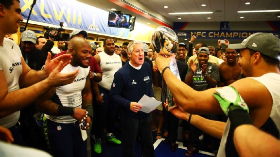 Pete Carroll and the Lombardi Trophy were at the center of the Seahawks' locker room celebration.