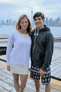Victor Wild with wife and fellow snowboarder Alena Zavarzina on a trip to Toronto.