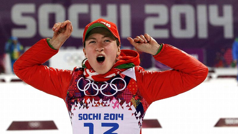 The 27-year-old Belarusian collected her second biathlon gold medal of the Sochi Olympics when she won the 15-kilometer individual race by more than a minute. Domracheva had previously struck gold in the 12.5-kilometer pursuit. In addition, she won a bronze in the individual race in Vancouver. i(Photo: AP)/i
