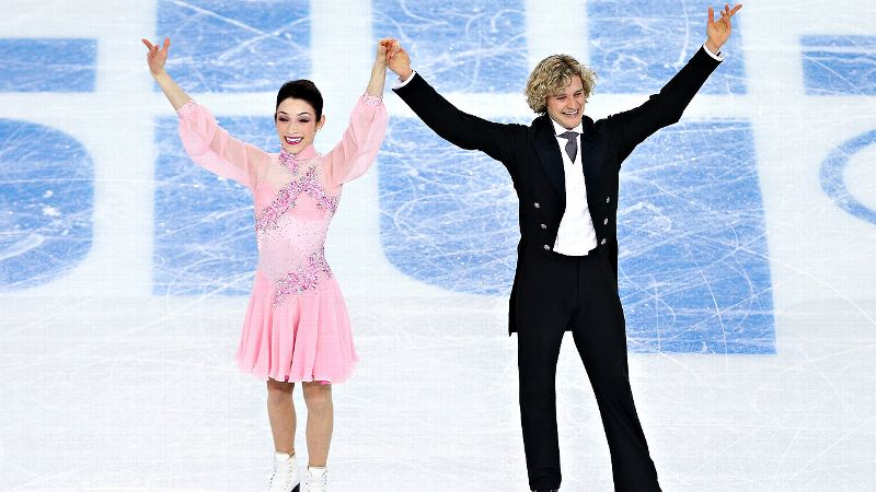 Meryl Davis and Charlie White scored 78.89 points and sit in the lead after Sunday's short dance.