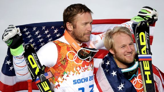 Bode Miller (bronze) and Andrew Weibrecht (silver) represented the U.S. on the Super-G podium.