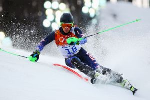 American Ted Ligety was 6th after the first run in the men's slalom but skied off the tricky course during the second run.