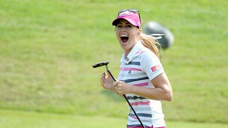 Paula Creamer was understandably ecstatic after sinking her 75-foot putt to clinch the title in Singapore.