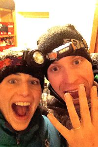 Sarah Groff, with fiance Ben True, a pro runner. The couple got engaged in January.