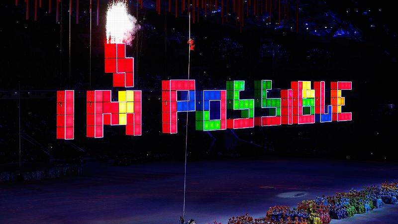 In the most stirring moment of the closing ceremony, Russian Paralympic rower Aleksey Chuvashev climbed a rope to change the word Impossible to I'm Possible.