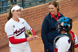Alicia Hollowell, right, the all-time Arizona great who is now in her second season as the team's pitching coach, believes Kenzie Fowler, left, is still as dominant as she was as a freshman.