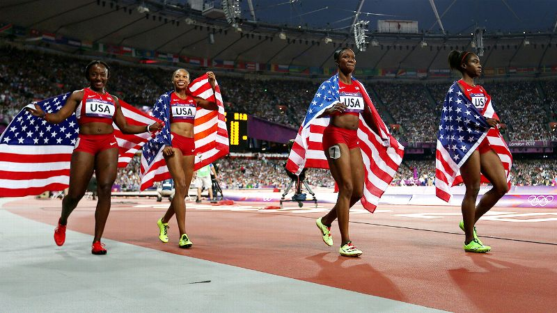 In one of the most buzzed-about events of the 2012 London Olympics, the 4x100-meter relay was largely considered a two-team race between the USA and Jamaica. The countries had developed a fierce rivalry in the sprint events at international competitions in recent years and the rivalry was put on display on the world's grandest stage. Anchored by Carmelita Jeter, the U.S. team not only beat Jamaica for the first American win in the event since 1996, but in doing so shattered a world record with a blistering time of 40.82 seconds. Jamaica finished second for silver.