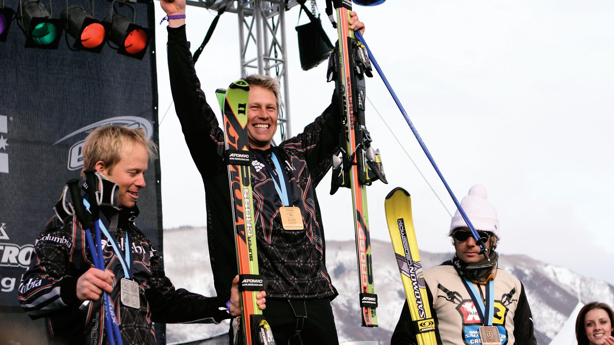 Reggie, Zach and Frenchman Enak Gavaggio on the Skier X podium in 2005.