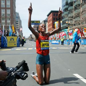 Rita Jeptoo became the seventh three-time Boston Marathon champion.